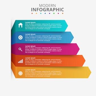 Präsentationsgeschäft infografik vorlage mit 5 optionen