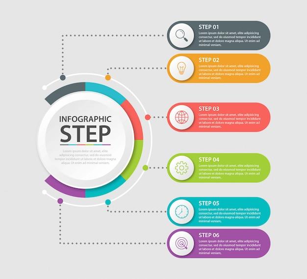 Präsentationsgeschäft infografik vorlage mit 6 optionen. illustration.