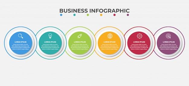Präsentationsgeschäft infografik vorlage mit 6 optionen.