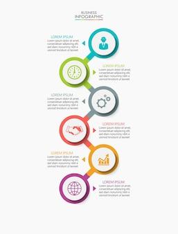 Präsentationsgeschäft infografik vorlage mit 6 optionen