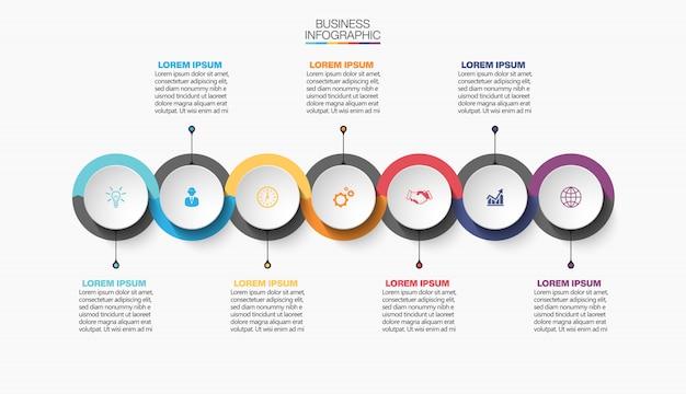 Präsentationsgeschäft infografik vorlage mit 7 optionen.