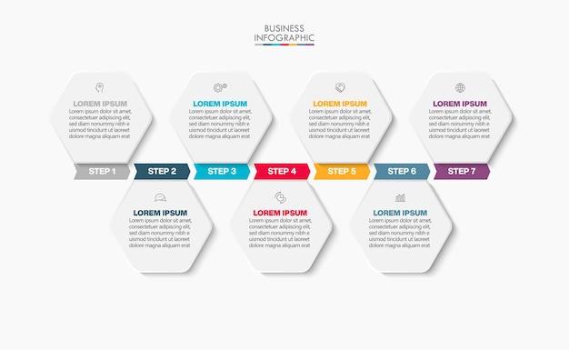 Präsentationsgeschäft infografik vorlage mit 7 optionen