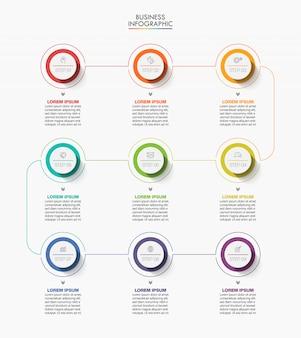Präsentationsgeschäft infografik vorlage mit 9 optionen.