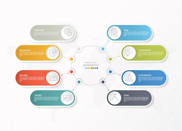 Präsentationsgeschäft infografik vorlage mit symbolen und 8 optionen oder schritten.