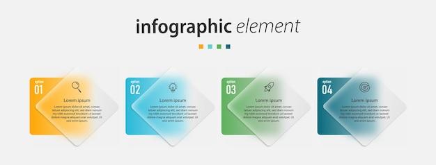 Präsentationsgeschäft kreative infografiken transparente glaseffektvorlage mit 4 optionen