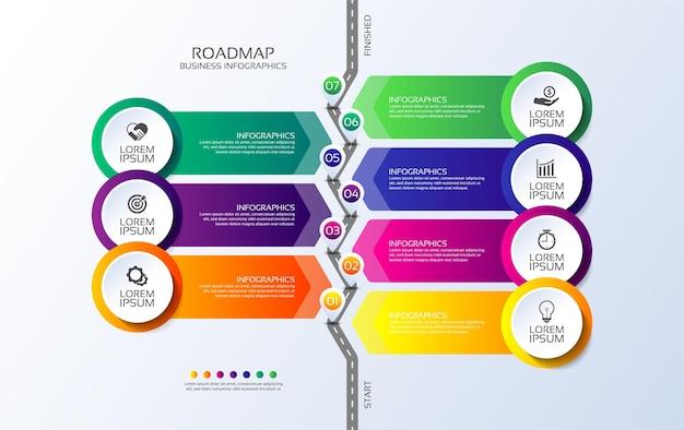 Präsentationsgeschäfts-infografik-roadmap bunt mit sieben schritten
