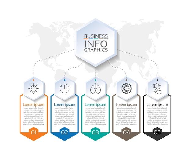 Präsentationsgeschäfts-infografik-vorlage bunt mit fünf schritten