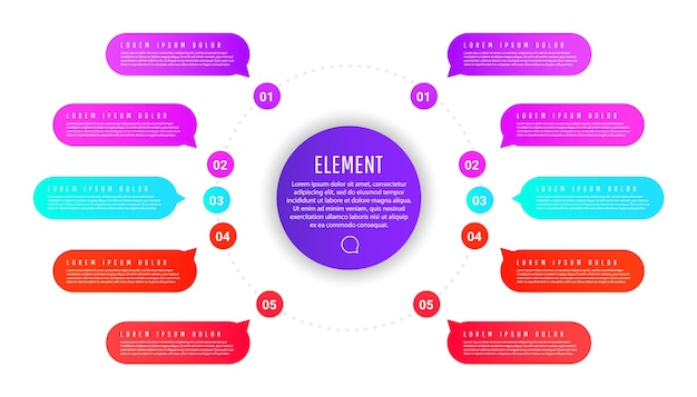 Präsentationsgeschäftskreisschablone mit bunten runden elementen