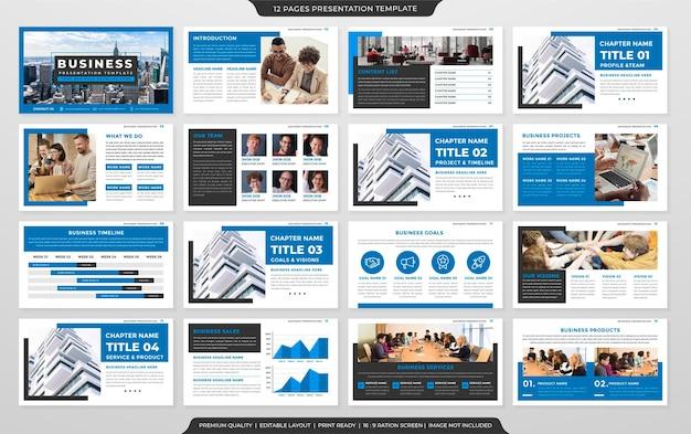 Präsentationsschablonendesign mit klarem stil und modernem layout