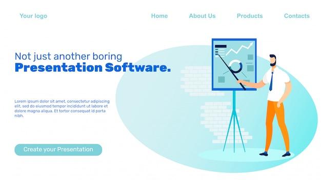 Präsentationssoftware landing page vector template