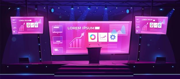 Präsentationsszene, konferenzsaal, leeres bühneninterieur mit großem bildschirm, auf dem geschäftsinfografiken präsentiert werden