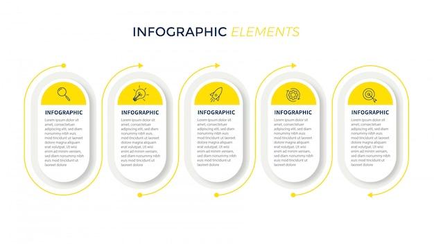 Präsentationsvorlage business infografik mit 5 optionen