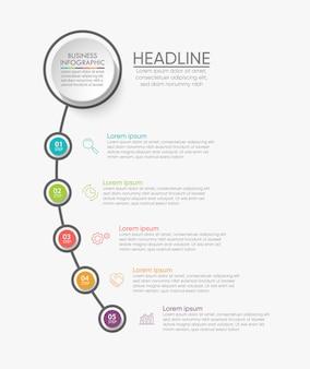 Präsentationsvorlage business infografik mit 5 optionen.