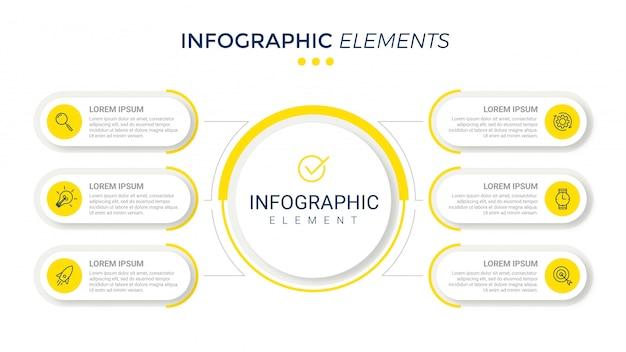 Präsentationsvorlage business infografik mit 6 optionen