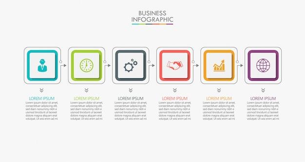 Präsentationsvorlage business infografik mit 6 optionen.