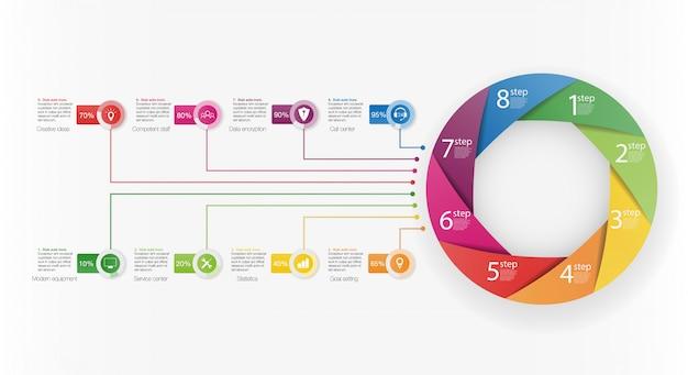 Präsentationsvorlage business infografik mit 8 optionen.