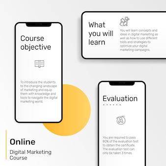 Präsentationsvorlage für digitales marketing mit mobiltelefon