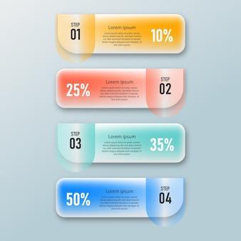 Präsentationsvorlage für kreative infografiken für transparente glaseffekte mit 4 optionen