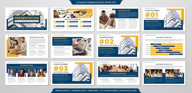 Präsentationsvorlagen-layoutdesign mit minimalistischem stil
