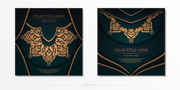 Präsentatives postkartendesign in dunkelgrüner farbe mit arabischem ornament. stilvolle einladung mit vintage-mustern.