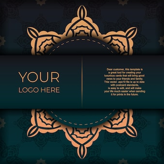 Präsentatives postkartendesign in dunkelgrüner farbe mit arabischem ornament. vektor-einladungskarte mit vintage-mustern.