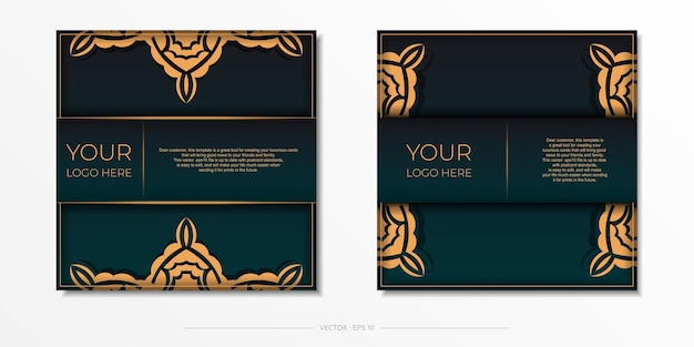 Präsentatives postkartendesign in dunkelgrüner farbe mit arabischem ornament.