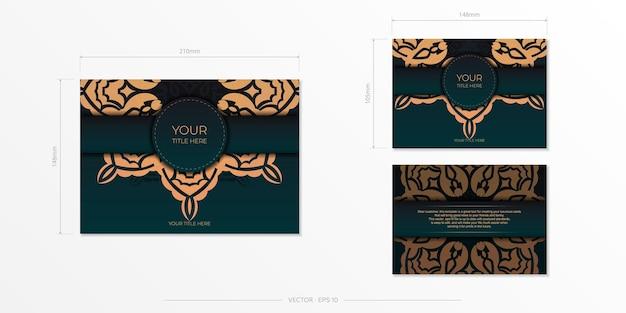 Präsentierbare vorlage für die druckfähige gestaltung von postkarten in dunkelgrüner farbe mit arabischen mustern.