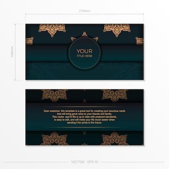 Präsentierendes druckfertiges postkartendesign in dunkelgrüner farbe mit arabischen mustern. einladungskartenschablone mit vintage-verzierung.