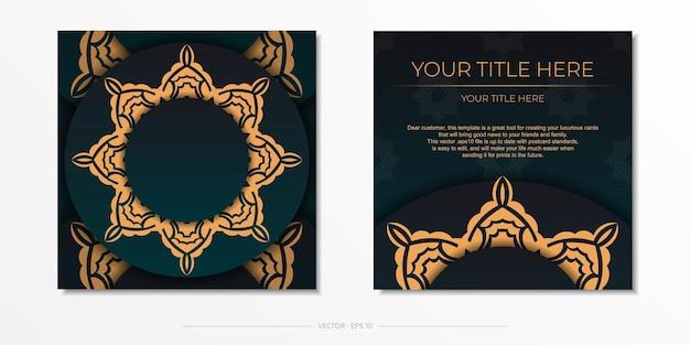 Präsentierendes druckfertiges postkartendesign in dunkelgrüner farbe mit arabischen mustern. einladungskartenvorlage mit vintage-mustern.