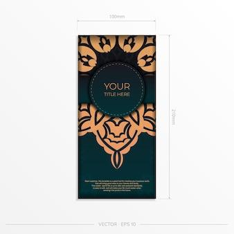 Präsentierendes druckfertiges postkartendesign in dunkelgrüner farbe mit arabischen mustern. vektor-einladungskartenschablone mit weinleseverzierung.