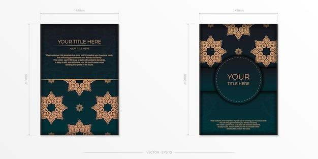 Präsentierendes druckfertiges postkartendesign in dunkelgrüner farbe mit arabischen mustern.