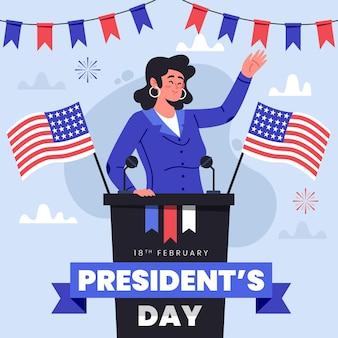 Präsidententag in flachem design