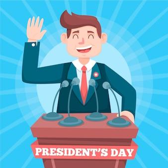 Präsidententag in flacher bauform