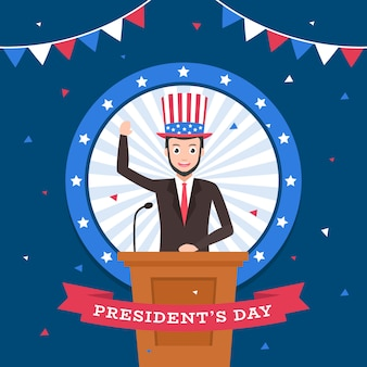Präsidententag mit charakterkarikatur und flagge.