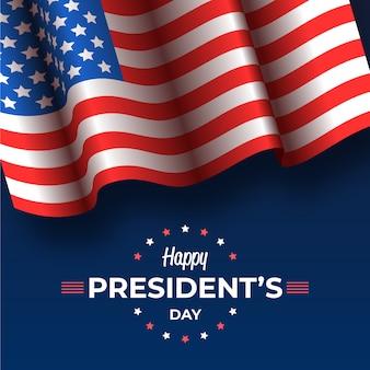 Präsidententag mit realistischer flagge und gruß