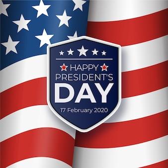 Präsidententag mit realistischer flagge und offiziellem abzeichen