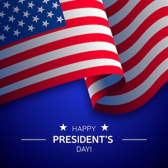 Präsidententag schriftzug mit realistischer flagge