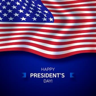 Präsidententagsbeschriftung mit amerikanischer realistischer flagge
