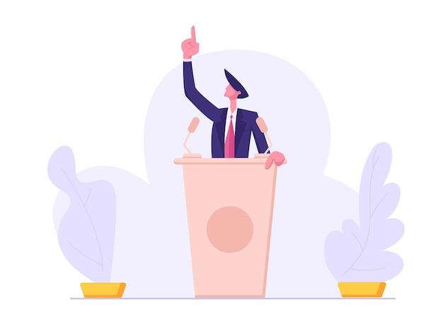 Präsidentschaftswahl. mann im anzug, der hinter der podiumillustration steht