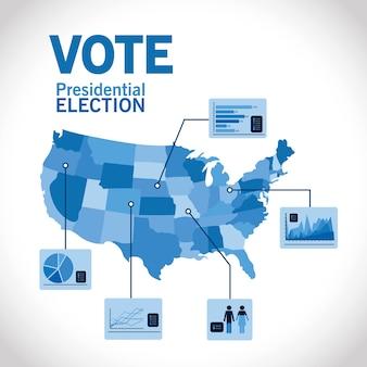 Präsidentschaftswahl mit blauer karte und infografik-design, regierungs- und wahlkampfthema