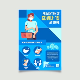 Prävention covid-19 im geschäft a5 flyer