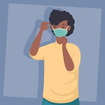 Prävention covid, mann afro tragen medizinische maske isoliert symbol illustration design
