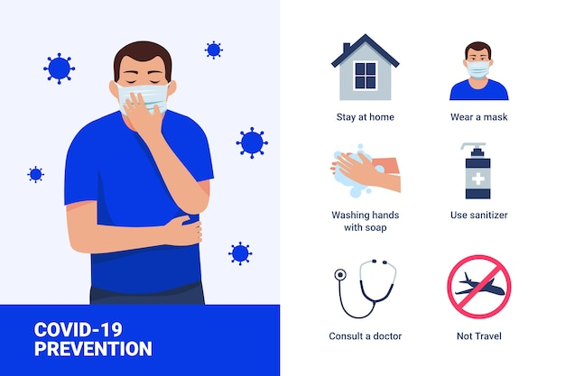 Prävention infografik und kartenhusten in der medizinischen maske