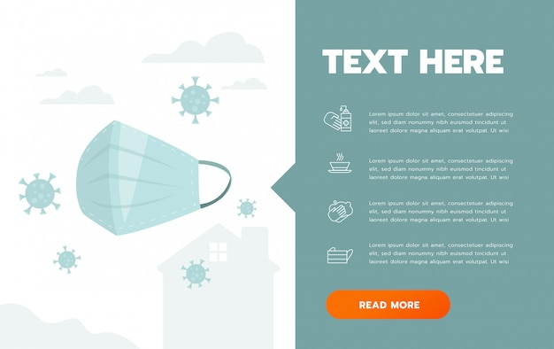 Prävention von covid-19 hygienemaske infografik poster illustration. coronavirus-schutzflyer
