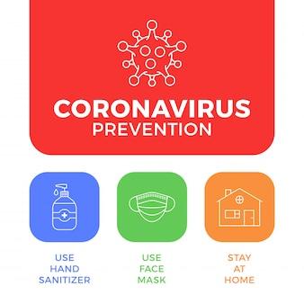 Prävention von covid-19 in einer symbolplakatillustration. coronavirus-schutzflyer mit gliederungssymbolsatz. bleiben sie zu hause, verwenden sie eine gesichtsmaske und ein händedesinfektionsmittel