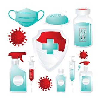 Präventions- und schutzset mit rot-weißer und türkisfarbener farbe