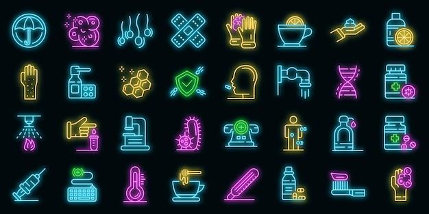 Präventionssymbole gesetzt. umrisse von präventionsvektorsymbolen neonfarbe auf schwarz