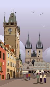 Prag-abbildung rathaus auf dem altstädter ring.