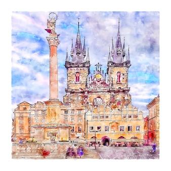 Prag tschechische republik aquarellskizze handgezeichnete illustration