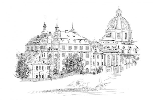 Prager straße mit alten steinhäusern.